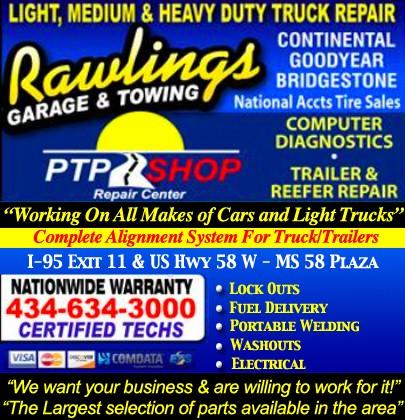 Rawlings Garage Towing Emporia Va Truck Stop Service Directory